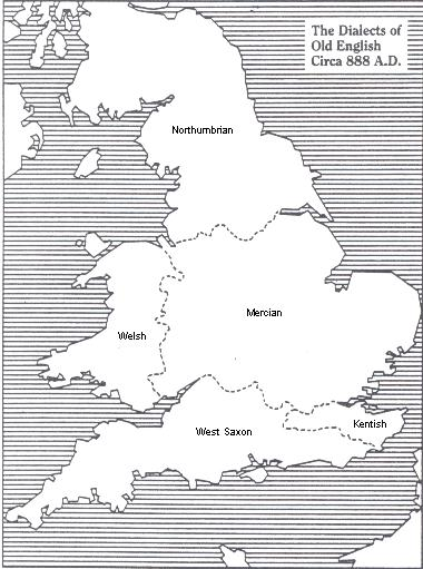 The dialects of Old English Circa 888 A.D.